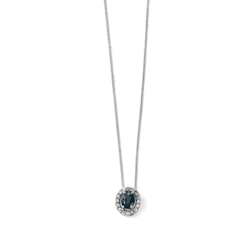 Elements Gold 9ct White Gold Diamond & Sapphire Cluster pendant-chain not included