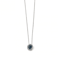 9ct White Gold Diamond & Sapphire Cluster pendant-chain not included