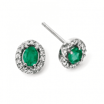 Elements Gold 9ct White gold Emerald stud earring
