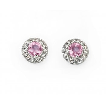 9ct White Gold Pink Sapphire and Diamond Earrings