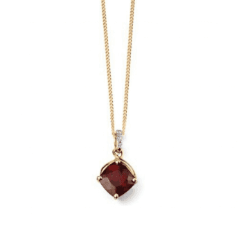 Elements Gold 9ct Yellow Gold Diamond and Garnet drop pendant (chain not included)