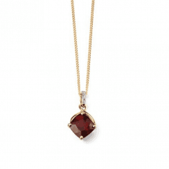 9ct Yellow Gold Diamond and Garnet drop pendant (chain not included)
