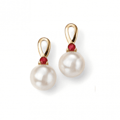9ct Yellow Gold, Ruby and Freshwater Pearl earrings