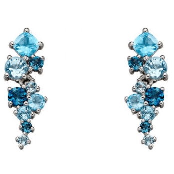 Elements Gold Blue Topaz and White Gold Earrings