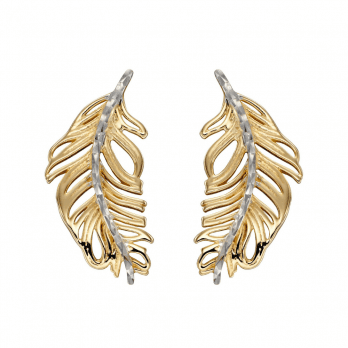 Elements Gold Feather Earrings In Yellow And White Gold