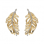 Feather Earrings In Yellow And White Gold