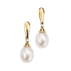 Gold, diamond and freshwater pearl drop earrings