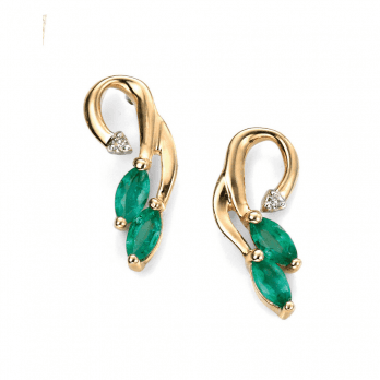 Elements Gold Gold, emerald and diamond Vine design earrings