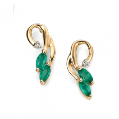 Gold, emerald and diamond Vine design earrings