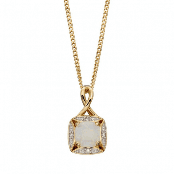 Elements Gold Opal And Diamond Pendant-chain not included