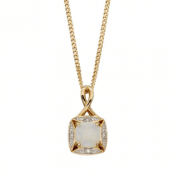 Opal And Diamond Pendant-chain not included
