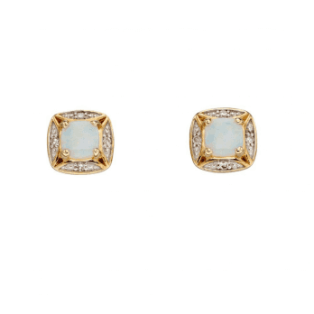 Elements Gold Opal And Diamond Stud Earrings