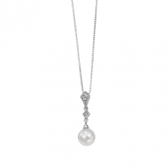 White gold, diamond and freshwater pearl pendant-chain not inc