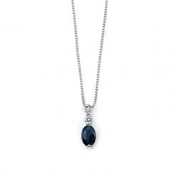 White gold, diamond and sapphire pendant-chain not included