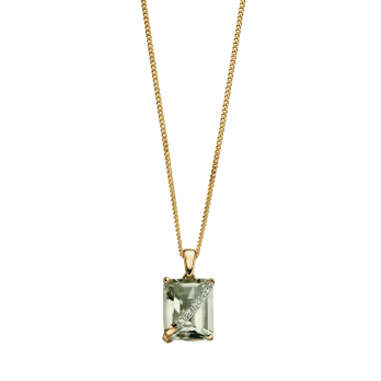 Elements Gold Yellow Gold Green Amethyst and diamond pendant (Excluding Chain)