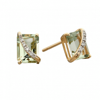 Elements Gold Yellow Gold Green Amethyst and diamond stud earring