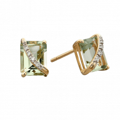 Yellow Gold Green Amethyst and diamond stud earring
