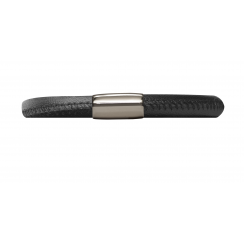 Black Leather Single Row Bracelet - Stainless Steel