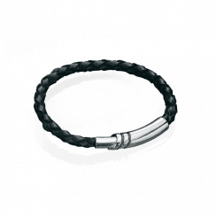 Fred Bennett Black Leather & Silver Magnetic Clasp Bracelet