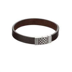 Fred Bennett brown leather bracelet with criss-cross detail clasp