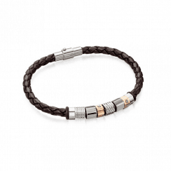 Fred Bennett Brown Leather Bracelet With Steel And Rose Gold plate beads and Stainless Steel clasp