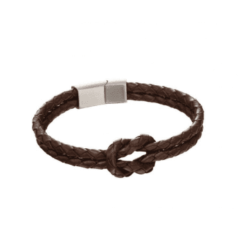 Fred Bennett Double Row Knot Brown Leather Bracelet with S/S magnetic clasp