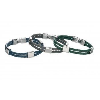 Fred Bennett Escape Stainless Steel Blue Leather Bracelet