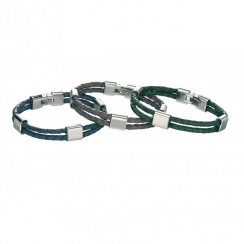 Escape Stainless Steel Blue Leather Bracelet