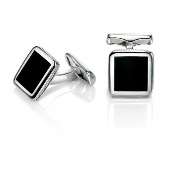 Fred Bennett Evolved Classics Sterling Silver Black Agate Cufflinks