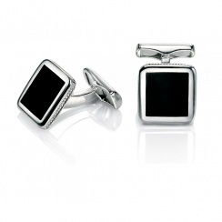 Evolved Classics Sterling Silver Black Agate Cufflinks