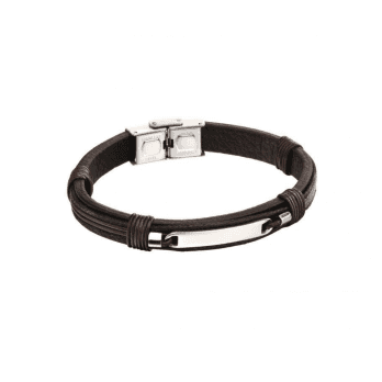 Fred Bennett ID woven in leather bracelet with Stainless Steel clasp (can be engraved)