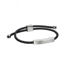 Fred Bennett Leather and stainless steel bracelet