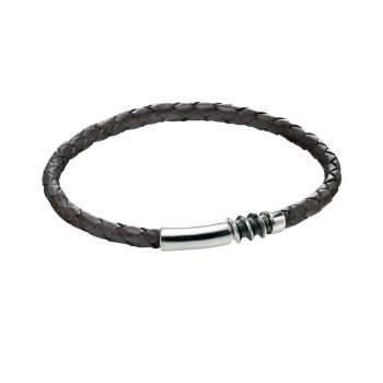 Fred Bennett Origin Sterling Silver Brown Leather Bracelet