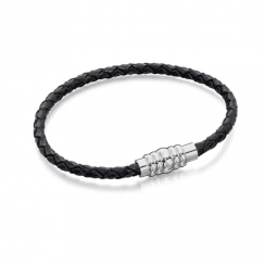 Skinny Stainless Steel Black Leather Bracelet With Magnetic Clasp