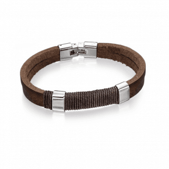 Fred Bennett Stainless Steel Brown Leather And Wrapped Cord Bracelet
