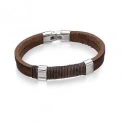 Stainless Steel Brown Leather And Wrapped Cord Bracelet
