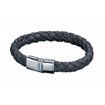 Fred Bennett Utilitarian Stainless Steel Brown Leather Bracelet