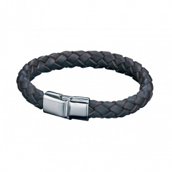 Utilitarian Stainless Steel Brown Leather Bracelet