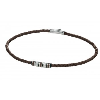 Fred Bennett Utilitarian Stainless Steel Brown Leather Necklace