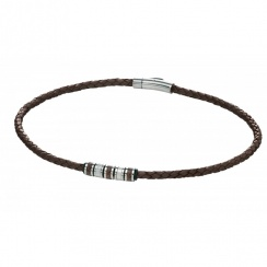 Utilitarian Stainless Steel Brown Leather Necklace