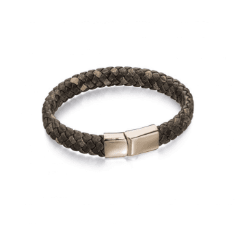 Fred Bennett Wide Brown plaited leather bracelet with Rose Gold plated Stainless Steel Clasp