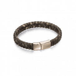 Wide Brown plaited leather bracelet with Rose Gold plated Stainless Steel Clasp