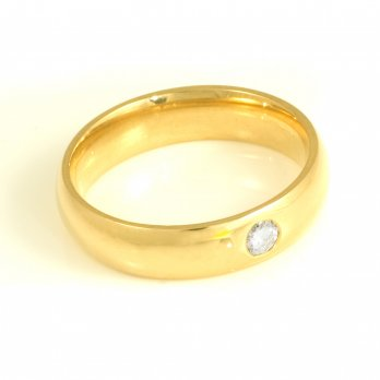 Gents 18ct Yellow Gold Round Brilliant Cut Diamond Ring