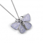 Henryka Common Blue Butterfly necklace in Silver and Blue Lace Agate
