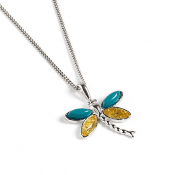 Henryka Silver Dragonfly necklace set with Turquoise and Yellow Amber