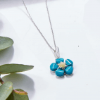 Henryka Silver Forget me not necklace set with Turquoise & Amber