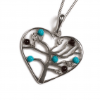 Henryka Symbol of Love necklace-Turquoise and Cherry Amber set in Silver