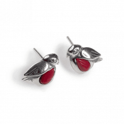 Henryka Tiny Silver Robin Stud Earrings set with Simulated Coral
