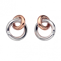 Eternity Silver & 18ct Rose Gold plated - Vermeil Interlocking Stud Earrings