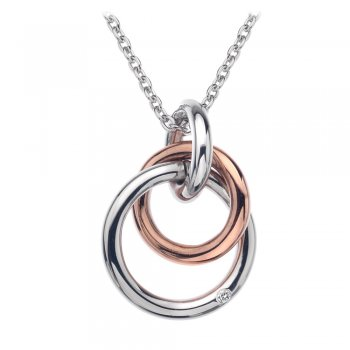 Hot Diamonds Eternity Silver & 18ct Rose Gold Vermeil Interlocking Pendant